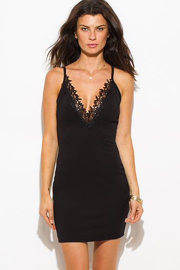 $15 - Cute cheap lace crochet mini dress - black deep v neck spaghetti strap crochet lace trim open back bodycon fitted sexy club mini dress
