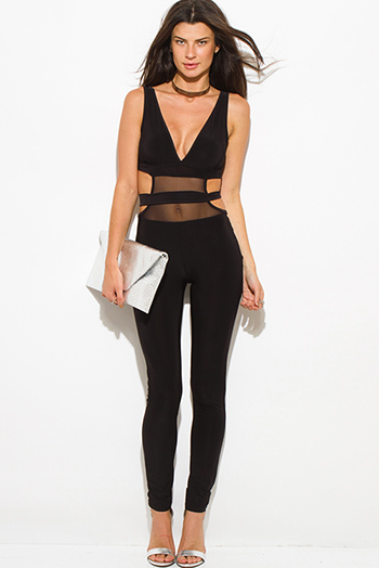 $25 - Cute cheap fitted sexy club jumpsuit - black deep v neck strapless banded mesh cut out contrast backless bodycon fitted clubbing catsuit jumpsuit
