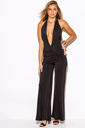 $15 - Cute cheap jumpsuit - black deep v neck ruched backless halter wide leg evening party sexy clubbing jumpsuit