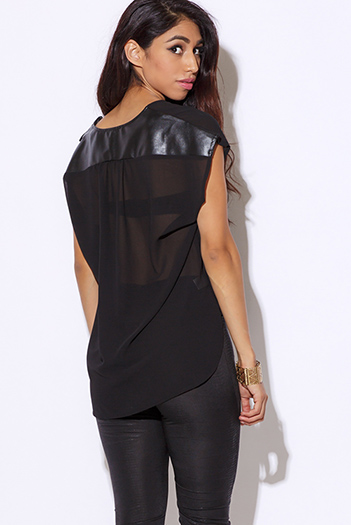 $15 - Cute cheap black chiffon crochet top - black deep v neck chiffon faux leather trim wrap blouse sexy party top