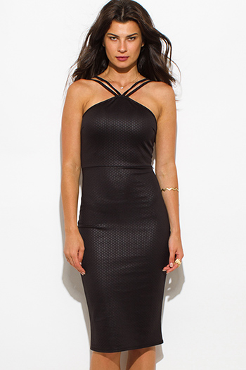 $20 - Cute cheap clothes - black diamond print caged spaghetti strap fitted bodycon sexy club midi dress