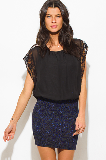 $10 - Cute cheap silver bejeweled cocktail dress - black dolman cap sleeve midnight blue shimmer contrast cocktail sexy party mini dress