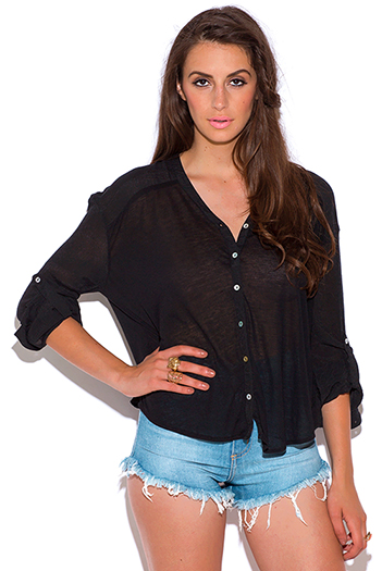 $15 - Cute cheap top sweater cardigan - black dolman sleeve shell button jersey cardigan top