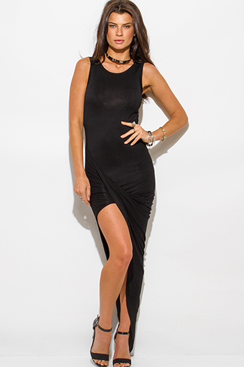 $15 - Cute cheap draped bodycon dress - black draped asymmetrical high low hem jersey bodycon maxi sexy party dress