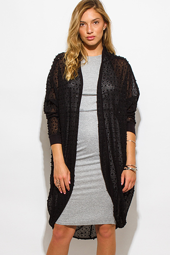 $20 - Cute cheap black perforated faux leather open cardigan duster coat 91455 - black embellished dolman sleeve boho duster cardigan sweater top