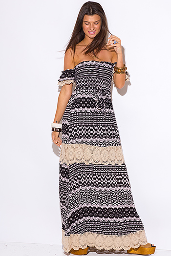 $30 - Cute cheap maxi dress - black ethnic print crochet trim off shoulder boho maxi sun dress