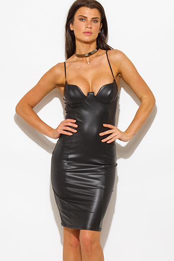 $20 - Cute cheap dress - black faux leather bustier bodycon fitted sexy clubbing midi dress