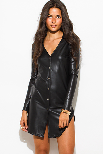 $20 - Cute cheap v neck sexy club mini dress - black faux leather deep v neck long sleeve button up bodycon fitted clubbing mini dress