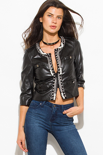 $25 - Cute cheap leather top - black faux leather embellished pearl studded cropped blazer jacket top