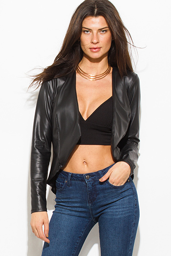 $20 - Cute cheap navy blue faux fur collar vegan leather zip up biker moto jacket - black faux leather long sleeve open front asymmetrical hem jacket top