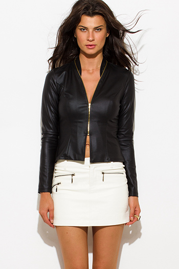 $20 - Cute cheap white satin faux leather trim zip up long sleeve bomber jacket top - black faux leather mandarin collar fitted long sleeve zip up blazer jacket top