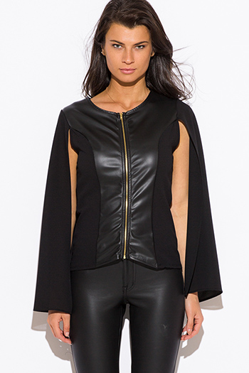 $20 - Cute cheap fall - black faux leather panel zip up cape blazer jacket