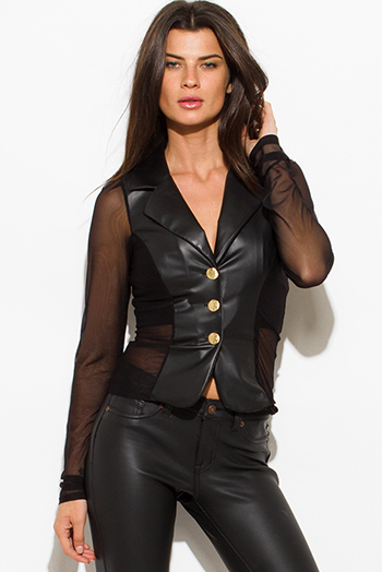 $15 - Cute cheap sheer backless fitted catsuit - black faux leather sheer mesh contrast golden button long sleeve fitted blazer jacket