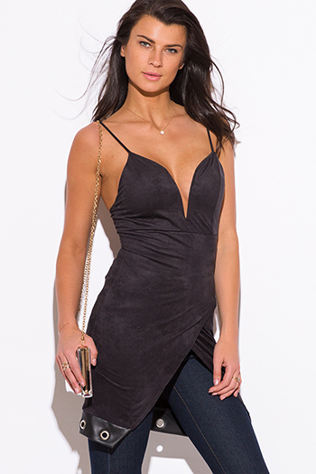 $15 - Cute cheap fitted sexy party top - black faux suede leather trim low v neck sweetheart fitted party tunic top