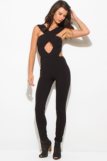 $25 - Cute cheap black sheer mesh contrast bustier open back spaghetti strap bodycon fitted sexy clubbing catsuit jumpsuit - black faux wrap criss cross cut out sleeveless open back golden zipper clubbing catsuit jumpsuit