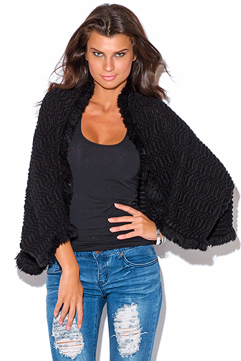 $15 - Cute cheap top sweater cardigan - black dolman sleeve shrug sweater top