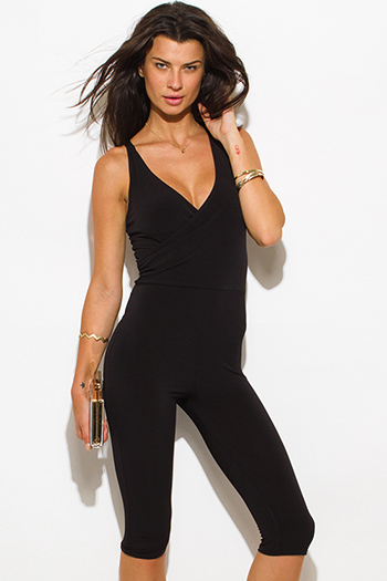 $15 - Cute cheap black fitted sexy club catsuit - black front faux wrap sleeveless fitted bodycon club cropped catsuit jumpsuit