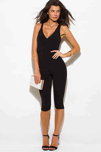$15 - Cute cheap clothes - black front faux wrap sleeveless fitted bodycon sexy club cropped catsuit jumpsuit
