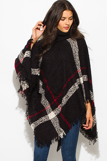 $25 - Cute cheap black boho top - black giant checker plaid fuzzy boho knit poncho sweater jacket tunic top