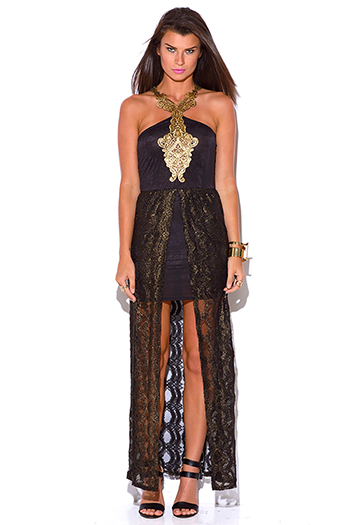 $10 - Cute cheap strapless slit formal dress - black gold metallic brocade lace high low slit formal evening cocktail sexy party dress