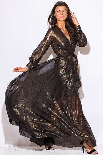 $65 - Cute cheap black sheer embroidered sheer mesh maxi dress 86973 - black gold metallic chiffon blouson long sleeve faux wrap formal evening sexy party maxi dress