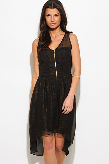 $15 - Cute cheap chiffon slit formal dress - black gold metallic chiffon high low hi low hem cut out back cocktail sexy party midi dress