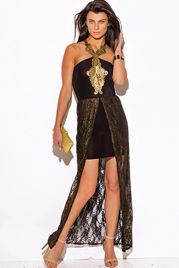 $20 - Cute cheap lace slit cocktail dress - black gold metallic lace high low slit formal evening cocktail sexy party dress
