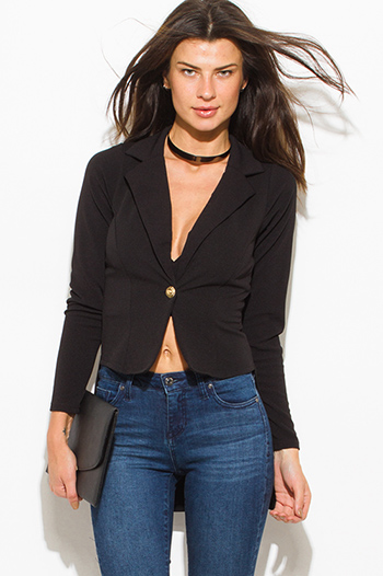 $20 - Cute cheap high low fitted blazer - black golden button fitted long sleeve high low hem tuxedo blazer jacket