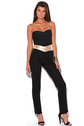 $10 - Cute cheap cute womens shorts attached black lace wide leg pants - black golden faux leather trim high waisted straight leg pants