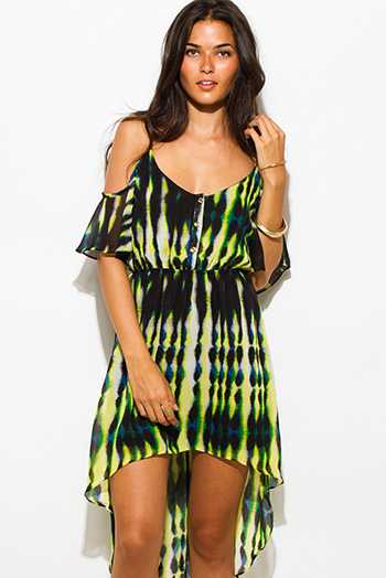 $20 - Cute cheap print ruffle sun dress - black green abstract print chiffon cold shoulder ruffle boho high low mini sun dress