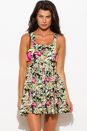$8 - Cute cheap print draped backless dress - black green tropical floral print backless criss cross strap beach cover up skater mini dress