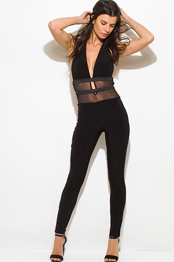 $20 - Cute cheap black open back sexy club jumpsuit - black halter deep v neck banded mesh contrast backless bodycon fitted clubbing catsuit jumpsuit