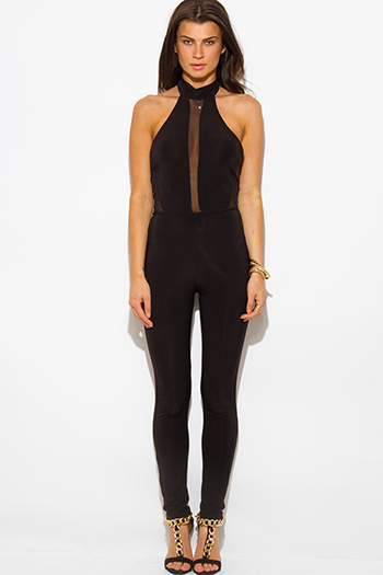 $20 - Cute cheap jumpsuit - black halter high neck backless mesh panel fitted bodycon sexy clubbing catsuit jumpsuit