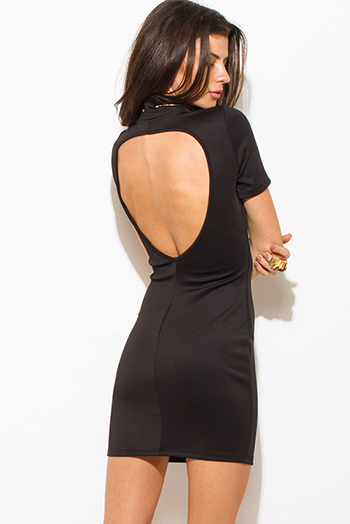 $20 - Cute cheap open back party mini dress - black high neck cut out backless fitted bodycon sexy club mini dress