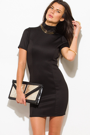 $7 - Cute cheap black cut out neck long sleeve high slit bodycon fitted open back sexy club party midi dress - black high neck cut out backless fitted bodycon club mini dress
