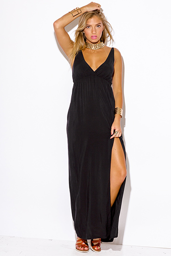 $20 - Cute cheap dress - black high slit deep v neck evening sexy party maxi dress