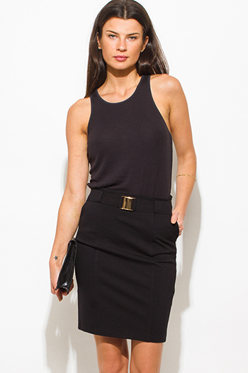 $15 - Cute cheap pencil skirt - black high waisted golden belt pocketed zipper back suiting midi pencil skirt