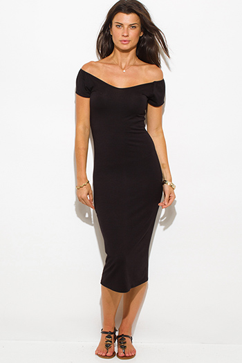 $15 - Cute cheap black jersey cap sleeve off shoulder bodycon fitted midi dress