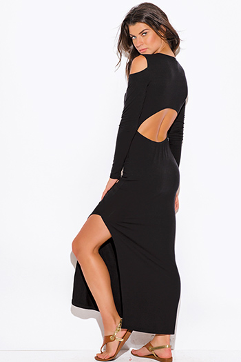 $15 - Cute cheap cold shoulder dress - black jersey cut out cold shoulder long sleeve backless high slit ankle maxi dress