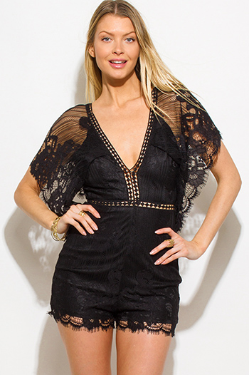$20 - Cute cheap black strapless belted high waisted crochet jumpsuit - black lace butterfly sleeve scallop hem cut out back resort boho romper playsuit jumpsuit
