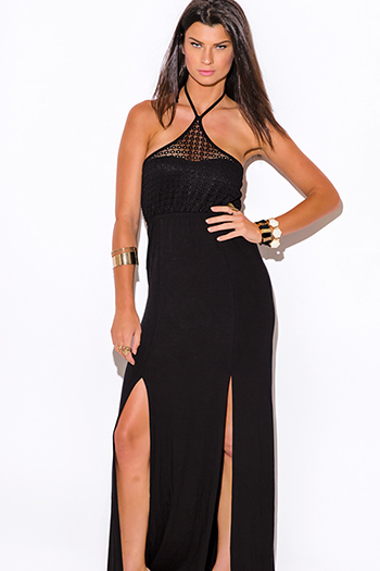 $15 - Cute cheap sundress - black lace halter double slit summer jersey maxi sun dress