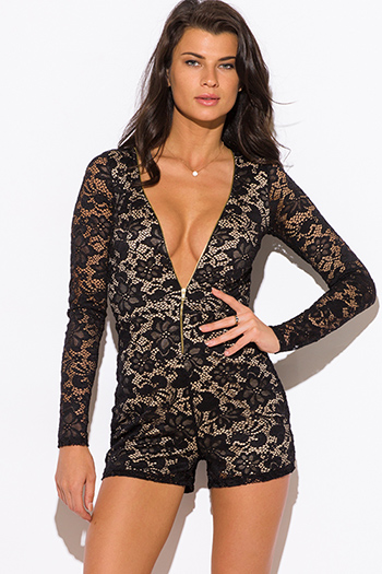 $20 - Cute cheap jumpsuit women.html - black lace long sleeve zip up deep v neck bodycon sexy club romper jumpsuit