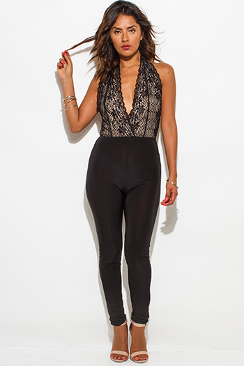 $15 - Cute cheap lace open back catsuit - black lace overlay halter deep v neck faux wrap backless fitted sexy clubbing catsuit jumpsuit