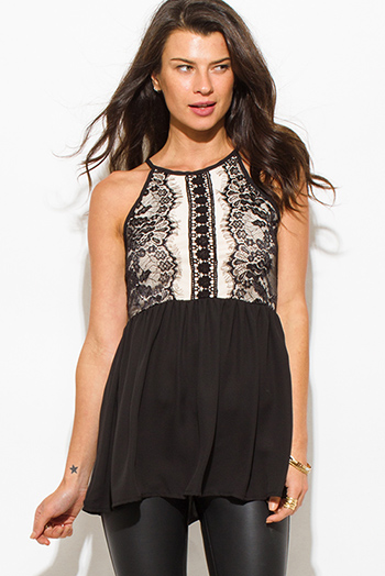 $15 - Cute cheap satin asymmetrical sexy party blouse - black lace overlay halter racer back flare peplum party blouse tank top