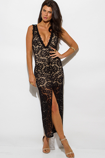 $20 - Cute cheap draped asymmetrical maxi dress - black lace overlay sleeveless deep v neck high slit bodycon evening sexy party maxi dress
