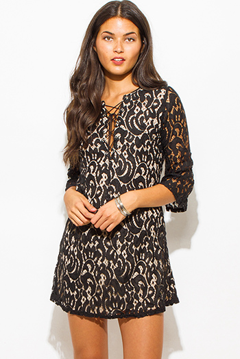 $20 - Cute cheap lace sheer sexy party bodysuit - black lace overlay v neck laceup quarter sleeve boho party shift mini dress