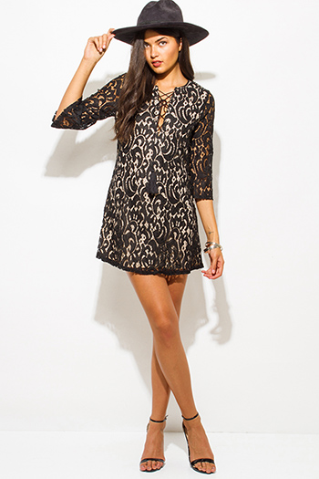 $20 - Cute cheap lace shift mini dress - black lace overlay v neck laceup quarter sleeve boho sexy party shift mini dress