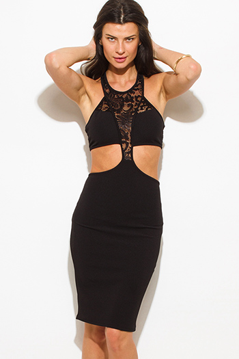 $15 - Cute cheap black lace panel contrast halter neck racer back cut out bodycon fitted sexy club mini dress