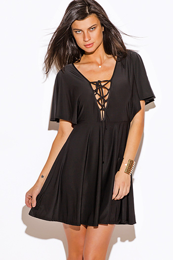 $15 - Cute cheap clothes - black laceup deep v neck kimono sleeve a line sexy club mini dress