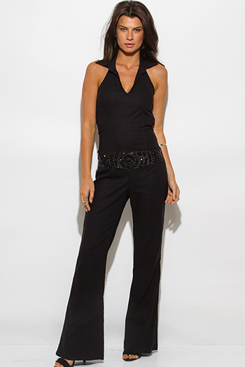 $30 - Cute cheap jumpsuit for women - black linen v neck bejeweled wide leg halter resort evening sexy party jumpsuit